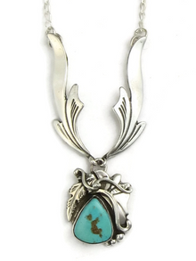 Blue Gem Turquoise Silver Necklace by Les Baker Jewelry