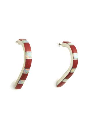 Mediterranean Coral & Opal Inlay Long Hoop Earrings