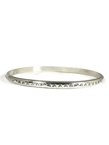 Hand Stamped Sterling Silver Bangle Bracelet by Elaine Tahe (BR5712)