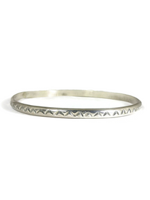 Hand Stamped Sterling Silver Bangle Bracelet by Elaine Tahe (BR5713)
