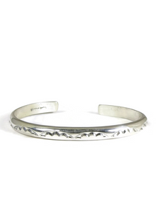 Hand Stamped Silver Bracelet by Elaine Tahe (BR5714)
