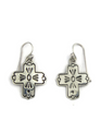Hand Stamped Sterling Silver Cross Earrings