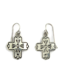 Hand Stamped Sterling Silver Cross Earrings