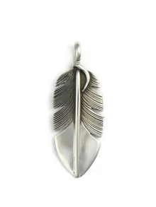 Silver Feather Pendant by Lena Platero
