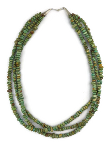 Three Strand Green Turquoise Bead Necklace by Tsabelle John