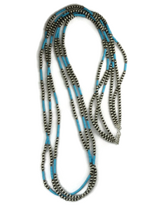 "Three Strand Turquoise Silver Bead Necklace Set 60"" Set"