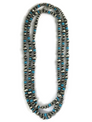 Long Turquoise Silver Bead Necklace 80""