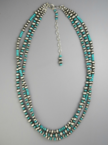 "Three Strand Turquoise Silver Bead Necklace 20"" with Extender"