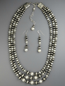 Three Strand Graduating Pearl & Silver Bead Necklace Set 20""