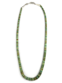 Green Kingman Turquoise Heishi Necklace 18""