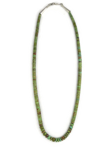 Green Kingman Turquoise Heishi Necklace 17""