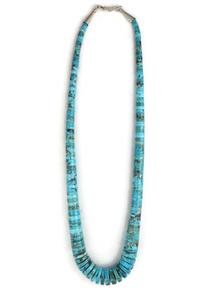 """Kingman Turquoise Heishi Necklace 19"""" (NK3421)"""