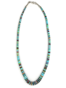 Kingman Turquoise & Gemstone Heishi Necklace 20 1/2""