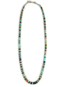 Turquoise & Gemstone Heishi Necklace 19 1/2""