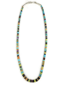 Turquoise & Gemstone Heishi Necklace 18 1/2""