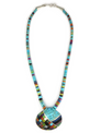 Mosaic Inlay Clam Shell Necklace by Ronald Chavez (NK3434)