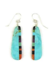 Turquoise & Gemstone Inlay Slab Earrings (ER3832)