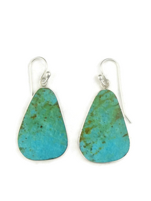 Silver & Turquoise Slab Earrings by Ronald Chavez (ER3859)