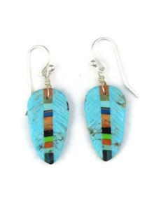 Turquoise & Gemstone Inlay Feather Slab Earrings (ER3862)