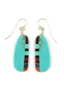 Turquoise & Gemstone Inlay Slab Earrings (ER3863)