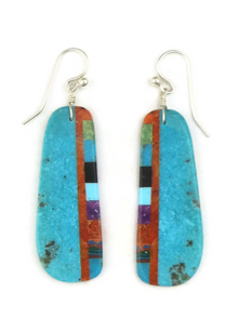 Turquoise & Gemstone Inlay Slab Earrings (ER3865)