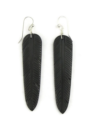 Jet Feather Slab Earrings by Ronald Chavez (ER3870)