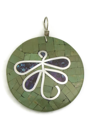 Mosaic Inlay Turquoise Dragonfly Shell Pendant by Ronald Chavez (PD3676)