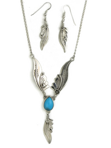 Sleeping Beauty Turquoise Silver Feather Necklace Set by Les Baker Jewelry (NK3436)