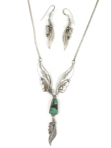 Pilot Mountain Turquoise Silver Feather Necklace Set by Les Baker Jewelry