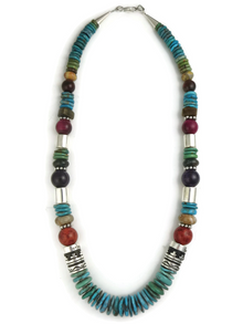 "Turquoise & Gemstone Bead Necklace 21"" by Rose Singer"