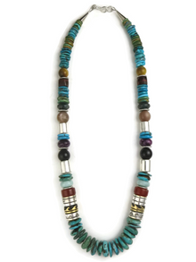 "Turquoise & Gemstone Bead Necklace 21 1/2"" by Rose Singer"
