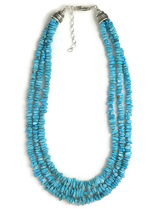 "Three Strand Graduated Turquoise Necklace 16"" - 18"""