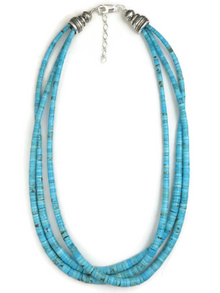 "Three Strand Turquoise Bead Necklace Adjustable Length 18"" - 20"""