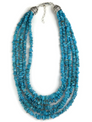 Five Strand Graduated Tiered Turquoise Necklace Adjustable Length