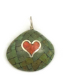 Mosaic Inlay Turquoise & Coral Heart Clam Shell Pendant by Ronald Chavez