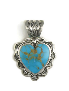 Kingman Turquoise Heart Pendant by Elgin Tom
