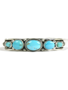 Five stone natural Kingman turquoise row bracelet by Navajo artist, Happy Piaso.