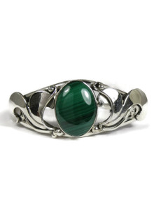 Sterling Silver Malachite Bracelet by Les Baker Jewelry