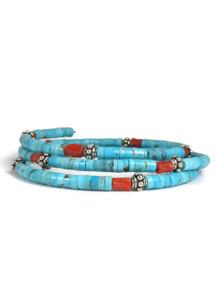 Turquoise & Coral Bead Wrap Bracelet