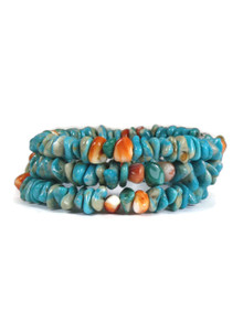 Turquoise & Spiny Oyster Shell Bead Wrap Bracelet (BR2023)