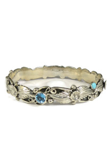 Blue Topaz & Turquoise Bangle Bracelet