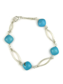 Silver & Turquoise Bead Bracelet