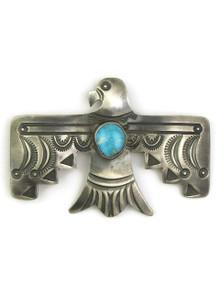 Kingman Turquoise Thunderbird Pendant - Brooch