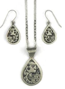 Silver Kachina Kiva Pendant Earring & Pendant Set