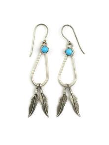 Sleeping Beauty Silver Dangle Feather Earrings
