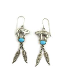 Sleeping Beauty Turquoise Silver Bear Feather Earrings