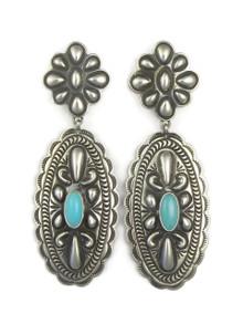 Sleeping Beauty Silver Concho Earrings by Tsosie White