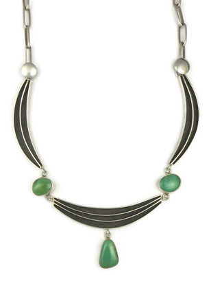 Green Kingman Turquoise Silver Channel Necklace by Francis Jones