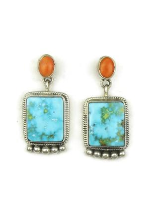 Kingman Turquoise & Spiny Oyster Shell Earrings by Geneva Apachito (ER3925)