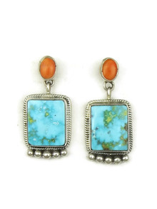 Kingman Turquoise & Spiny Oyster Shell Earrings by Geneva Apachito (ER3925)